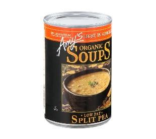 Soupe biologique au pois cassés teneur réduite en sodium sans gluten de Amy's
